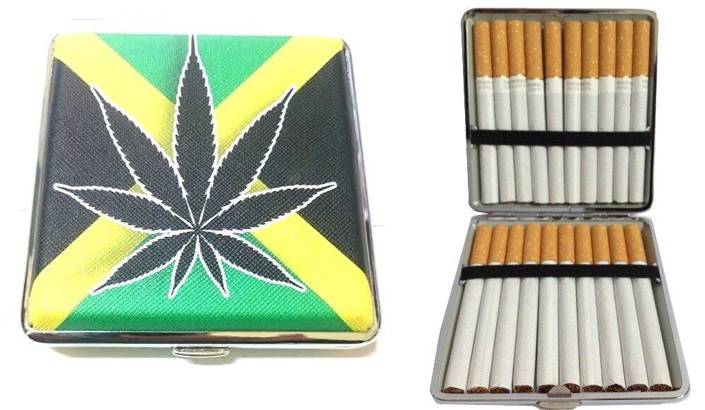 Box PortaSigarette Porta Sigarette Tabacco Monete Banconote Metallo Jamaica hsb