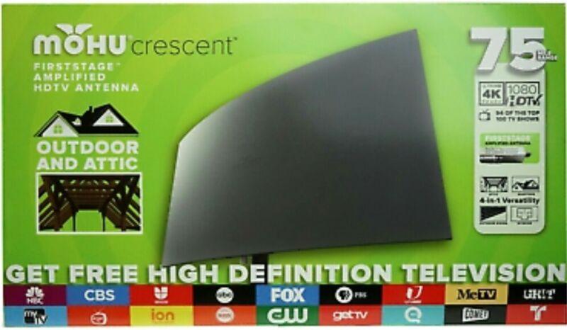 Mohu Crescent Outdoor 75 mile range TV Antenna Ultra HD 4K Ready 1080 HDTV BNIB