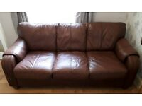 Brown/Tan Leather sofa