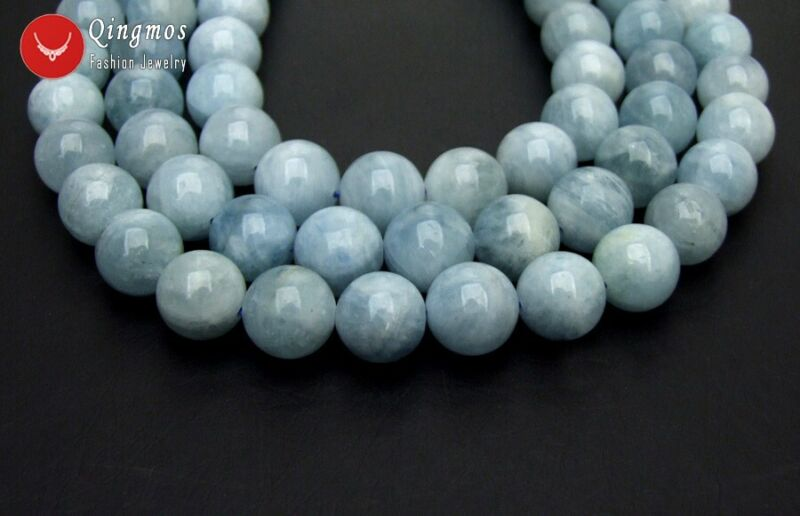 "14mm Natural Blue Round Aquamarine Stone Loose Beads for Beadwork DIY 15"" los815"