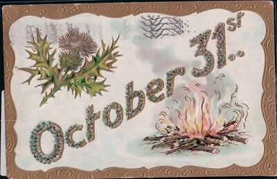 POSTCARD: OCTOBER 31ST, HALLOWEEN DATE BON FIRE AND THISTLE - AUTUMN LIFE RR17