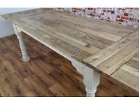 Extendable Oak Style Hardwood Rustic Farmhouse Dining Table Painted in Farrow & Ball-Seats Up To 12
