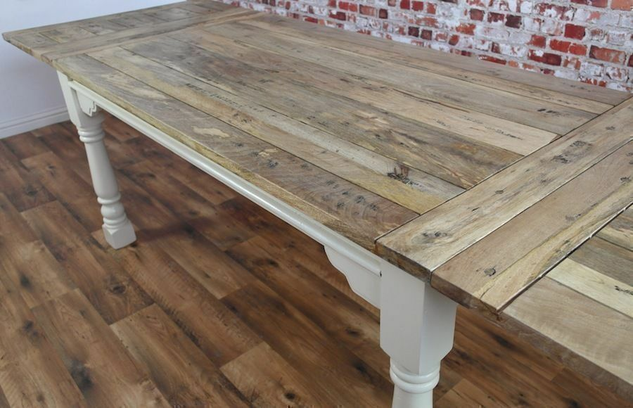 Extendable Extending Rustic Farmhouse Dining Table Reclaimed Hardwood Seats 12