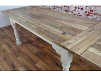 Extendable Hardwood Rustic Farmhouse Dining Table Painted in Farrow & Ball - Seats Up To 12