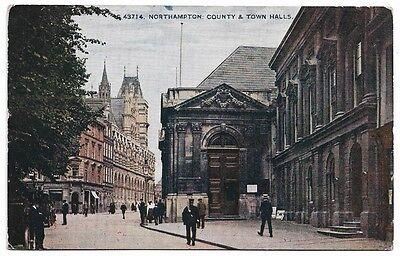 [1540] Northamptonshire Colored Postcard Northampton County & Town Halls