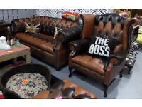NEW Chesterfield Suite 3 Seater Sofa & Wing Chair in Brown Leather Patchwork - UK Delivery