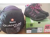 Ladies sleeping bag and boots
