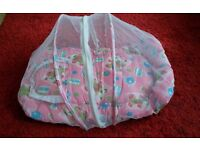 Baby girl pink cosy sleeping mat with insect net new