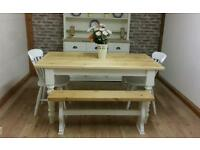 Rustic pine farmhouse kitchen dining table and chairs and benchs shabby chic