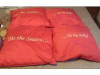 4 x christmas cushions Tis the season to be jolly