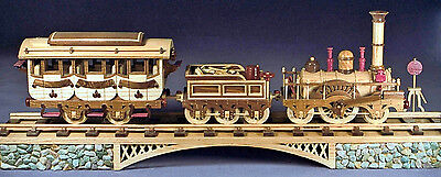 Woodworking plans for building an 1835 train, a three car locomotive