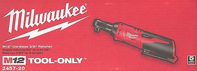 "BRAND NEW IN SEALED BOX-MILWAUKEE 2457-20 M12 CORDLESS 3/8"" RATCHET(TOOL ONLY)!"