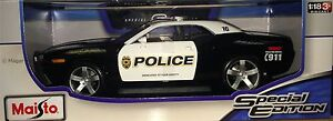 Maisto Black/White 2006 Dodge Challenger Concept Police 1:18 Die Cast Car Model