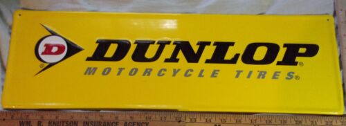 """vintage """"Dunlop"""" motorcycle tires sign old biker collectible advertising ad 8x24"""