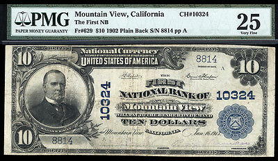 10 1902 Pb First National Bank Of Mountain View California Ch 10324 Only 10 Lrg