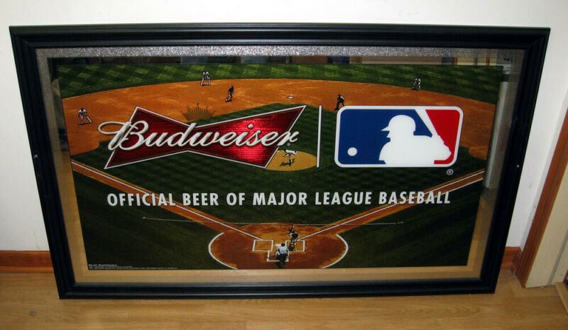 MLB Budweiser Beer Baseball Large Mirror Wall Sign