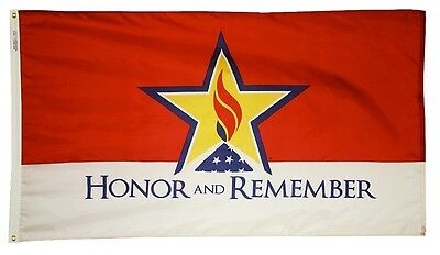 3x5 ft HONOR and REMEMBER Military Memorial Flag Outdoor Print Nylon USA Made