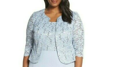 Alex Evenings Women's Sky Blue Glitter Short Jacket Size 16W