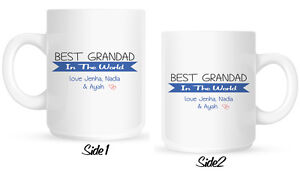 Personalised World's Best Grandad  MUG gift for birthday, Fathers Day, Christmas