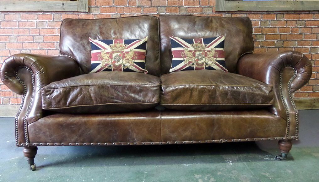 c1433500133f Stunning Chesterfield Halo Balmoral Large 2 Seater Sofa in Brown Leather -  Uk Delivery