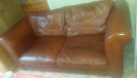Laura Ashley brown leather sofa