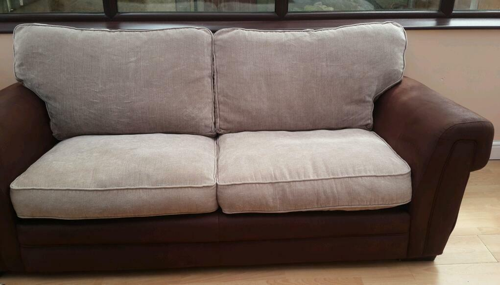 Cream And Brown Suede Sofas In Bradford West Yorkshire