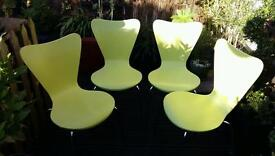 Funky lime green stackable chairs x 4