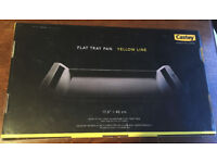 Castey Yellow Line Non Stick Cast Aluminium Flat Oven Tray Pan Asador Bandeja 45cm