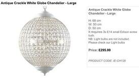 Brand New Large Cream Crackle Globe Glass French Style Chandelier RRP £295