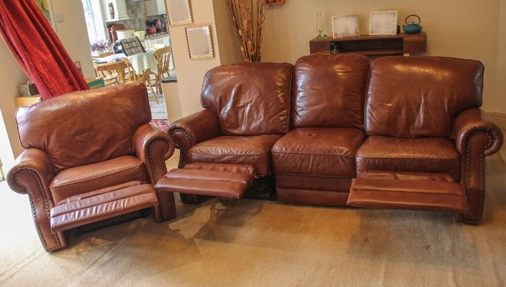 Dark Brown Leather 3 Seater Armchair Full Recliner Sofa Settee