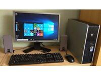 "HP Windows 10 Pro PC Computer/WIFI/2GB RAM/160GB/19""Monitor/Speakers"