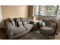 Grey sofa and swivel chair Verona