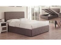 DOUBLE GREY FABRIC OTTOMAN STORAGE BED WITH ORTHO MATTRESS