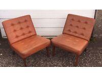 Pair of Retro Vinyl Orange chairs - £60 FREE DELIVERY ANYWHERE IN EDINBURGH