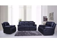 Leather Recliner Sofas 3+2+1 Seaters in Black or Brown BRAND NEW FREE DELIVERY in 1-5 days BARGAIN