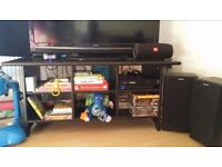 Black woodwn tv stand with shelves