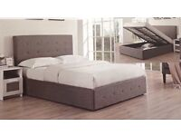 DOUBLE GREY OTTOMAN STORAGE BED WITH ORTHO MATTRESS
