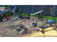 Metal weights, plastic weights and benches with bars collection only