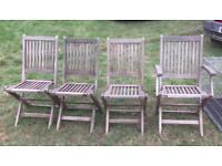 4 Wooden Garden Chairs