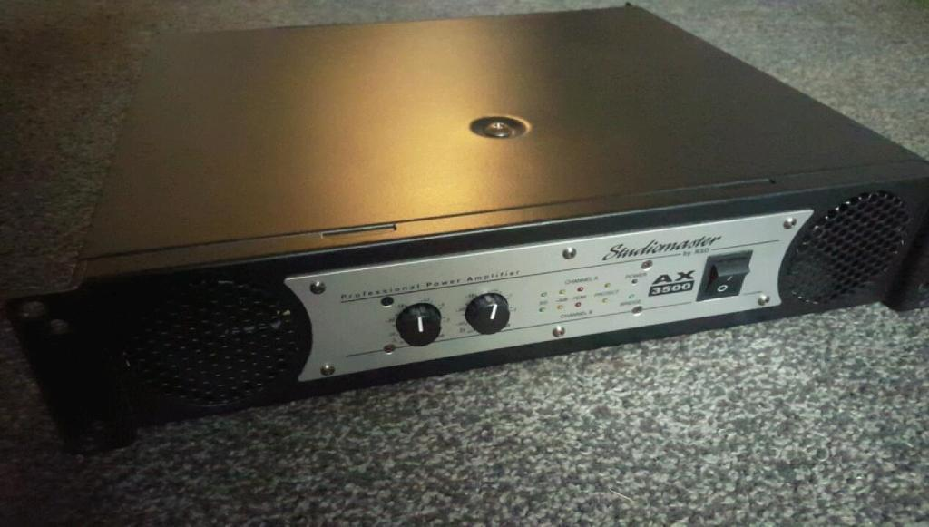 Studiomaster ax3500 power amplifier, amp, speakers, dj, sub, subwoofer, mixer, peavey, mackie