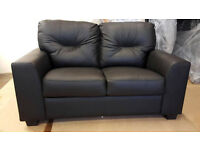 Brand New Aston Regular Leather Sofa - Black. -Can deliver-