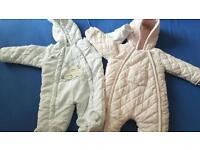 0-3 and 3-6 baby girls snowsuits