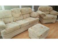 3 Seater Sofa / Settee, Armchair and Footstool