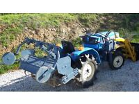 Mitsubishi Mt1401D compact tractor with tiller + 3 point hitch, set of forks and tow ball