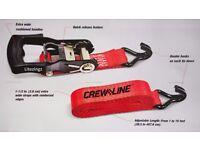 Ratchet Strap Tie down Set x 2 Crew Line 1 1/2 inch (3.8cm) Brand new in Packaging