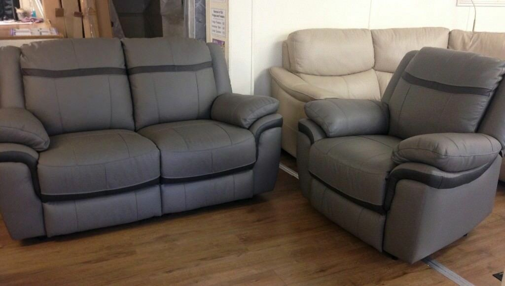 Scs Taurus 2 1 Grey Leather Manual Recliner Sofa Suite