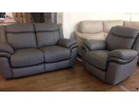 ScS Taurus - 2+1 Grey Leather MANUAL RECLINER Sofa Suite