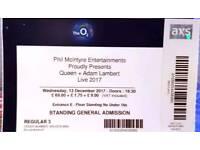 O2 Arena standing ticket for Queen and Adam Lambert