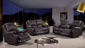 Toronto 3 & 2 Brown Bonded Leather Luxury Recliner Sofa Set With Pull Down Drink Holder. UK Delivery