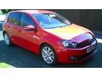 VW GOLF GT TDI 140 5 DOOR, TORNADO RED, LEATHER INTERIOR. REG.NOV 2012, LOW MILEAGE 14K, F.S.H.